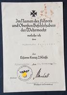 Original Verleihungsurkunde Eisernes Kreuz 2. Klasse EK 2, Kriegsmarine Ob. Masch. Mt., Wilhelmshaven 1939 - Documents