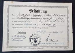 Original Bestallungsurkunde Ob. Masch. Mt. Zum Ob. Maschinisten Kriegsmarine Mar.-Fla.-Abteilung 213, 1.3.1941 - Documents