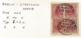 "5 175 Briefstück Bahnpost ""BERLIN-STRALSUND NORDB"" 1921 - Oblitérés"