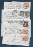 Lot De 4 Lettres Avec Timbres Perforés - Marcophilie (Lettres)