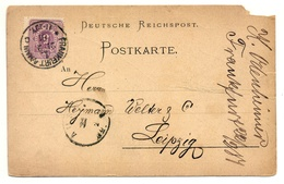 Firmen-Ganzsache K. Odenheimer, Frankfurt A. M. 1881 Nach Leipzig - Deutschland