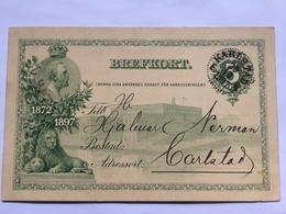 SWEDEN 1897 Jubilee Postcard Pre-paid - Fem Ore Rate Brefkort - Karlstadt Internal - Sweden