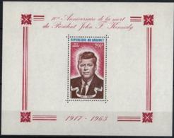 DAHOMEY - 10e Anniversaire De La Mort Du Président John F. Kennedy (feuillet) - Bénin – Dahomey (1960-...)
