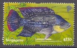 Singapore - 2011 Marine Life, Pond, Common Tilapia, Fishes, Poisson, Fisch, Used - Singapore (1959-...)