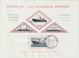 France Feuillet Vignettes Paquebot France 1962 Le Havre - Erinnophilie