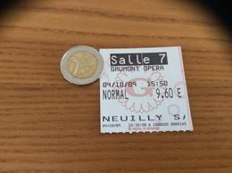"""Ticket De Cinéma SALLE 7 GAUMONT OPERA (75) """"NEUILLY S"""" / Dos Films Horaires Réservations (Gaumont) - Toegangskaarten"""