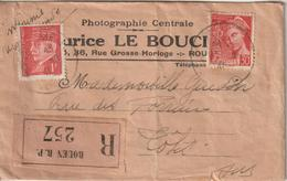 France Lettre Recommandée 1941 Photographe Rouen Pour Totes (76) - Marcophilie (Lettres)