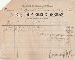 Rare Facture De 1875 De La Brasserie Et Commerce De Grains Eugène Dupiereux-Debras, Rue Des Brasseurs, 53 Namur - België