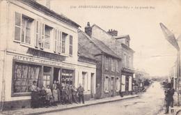 CPA 76 @ Angerville - L'Orcher - La Grande Rue Devant Le Café Ch. HEROUARD Animé - Autres Communes