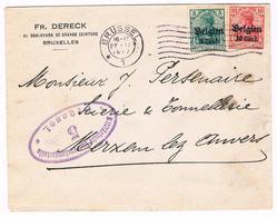 OC 12 En 14 Op Brief  Brussel 5   1917  Militarische Uberwachungsstelle ,Fr Dereck - Weltkrieg 1914-18