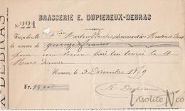 Rare Reçu De 1879 De La Brasserie Eugène Dupiereux-Debras, Rue Des Brasseurs, 53 Namur - België