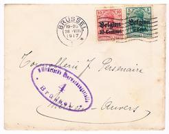 OC 12 En 14 Op Brief  Brussel 4   1917  Militarische Uberwachungsstelle Tonnellerie - Weltkrieg 1914-18