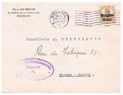 OC 15 Op Brief  Brussel 5  1917  Militarische Uberwachungsstelle GEPRUFT Tonnellerie Persenaire Felix De Bruyn - Weltkrieg 1914-18