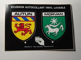 CP Double Blason écusson Adhésif Autocollant  Autun Et Morvanaufkleber Wappen Coat Of Arms Sticker Adesivo Adhesivo - Obj. 'Remember Of'