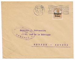 OC 15 Op Brief  Brussel 5  1917  Militarische Uberwachungsstelle GEPRUFT RECLAME Conserves Malines - Weltkrieg 1914-18