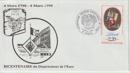 France Bicentenaire Création Département De L'Eure 1990 - Gedenkstempel