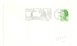 HERAULT - Dépt N° 34 = CAUX 1985 =  FLAMME Type II = SECAP Illustrée De BACCHUS ' En LANGUEDOC - VINS AOC ' - Marcophilie (Lettres)