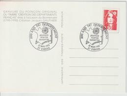 France 200 Ans Département De L'Eure 1990 - Gedenkstempel