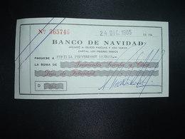 CHEQUE BANCO DE NAVIDAD 24 DIC. 1965 - Chèques & Chèques De Voyage