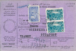 Paketkarte Konstantinopel Nach Budapest Rosinen 5 Kg Schenker Für Transit - 1858-1921 Ottomaanse Rijk