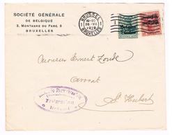 OC 2 En 3 Op Brief 1916  Brussel CTR  Bank Freigegeben Militarische Uberwachungsstelle - Weltkrieg 1914-18