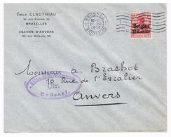 OC 3 Op Brief 1915  Brussel CTR  Militarische Uberwachungsstelle Emile Clautriau - Weltkrieg 1914-18