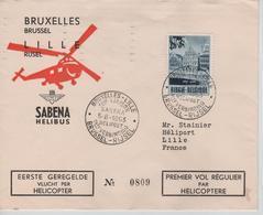 REF568/ TP 922 Surtaxe S/L.par Hélicoptère BXL-Lille C.BXL-Lille 1ère Liaison Sabena 5/8/1953 > Lille C.d'arrivée - Luchtpost