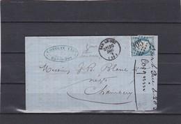 BAR-le-DUC ( MEUSE )  GC 305  + LAC+  N°60C -pour CHAMBERY - 20 DEC. 1874 - REF 1338 + Variété - Postmark Collection (Covers)
