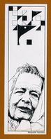 Marque-page : Portrait De Marguerite Yourcenar - Dessin En Noir Et Blanc - Littérature. - Bookmarks