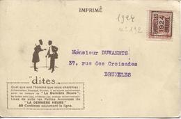 REF710/ TP 192 Houyoux Roulette Bruxelles 1924 S/CP Publicitaire 'Les Petites Annonces De La Dernière Heure' > E/V - Roller Precancels 1920-29