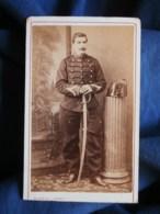 Photo CDV Rideau à Cherbourg  Militaire  Sergent D'Artillerie  CA 1875 - L493 - Old (before 1900)