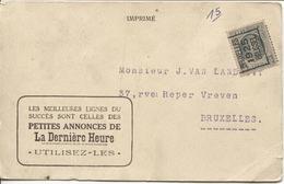 REF711/ TP 193 Houyoux Roulette Bruxelles 1925 S/CP Publicitaire 'Les Petites Annonces De La Dernière Heure' > E/V - Roller Precancels 1920-29