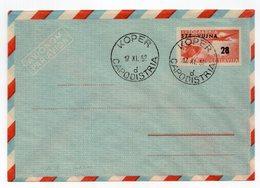 1952 YUGOSLAVIA, STT-VUJA, AIRMAIL, KOPER , CAPODISTRIA, 28 DIN STAMP INPRINTED STATIONERY COVER - Enteros Postales