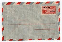 1950s  YUGOSLAVIA, STT-VUJA, AIRMAIL, 30 DIN STAMP INPRINTED STATIONERY COVER, MINT - Postal Stationery