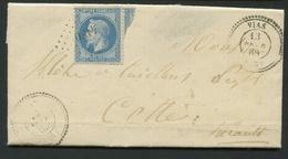 Lettre France 1863-70 Napoléon III Lauré Dentelé 20c Bleu No29b. Envoyé De Vias (PC4180) à Cette. Timbre Endommagé - 1849-1876: Période Classique