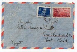 1946? YUGOSLAVIA,CROATIA,MALI LOSINJ TO PORT SAID,EGYPT,AIRMAIL,TITO,5 DIN STAMP INPRINTED STATIONERY COVER,USED - Postal Stationery