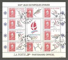 """FRANCE BF Y&T N°14- """" Albertville 92 """". Jeux Olympiques D'hiver. Cachets D'oblitération Du 21-4-1992. 89 DOMATS. Yonne - Blocchi & Foglietti"""