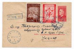 1948 YUGOSLAVIA,MONTENEGRO,PLJEVLJA TO ULCINJ,TITO,3 DIN,REGISTERED,STATIONERY COVER,ERROR AT THE BACK,LETTER J IN REON - Postal Stationery