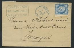 Lettre France 25c Bleu Type III No60c. Etoile Bleu. Cad Bleu. Envoyé De Paris à Troyes. - 1849-1876: Période Classique