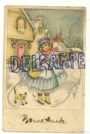 Bonne Année. Petite Fille Et Chaton Siamois Dans La Neige. Coloprint Spécial 4665/4 - Nouvel An
