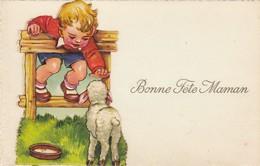 """CARTE FANTAISIE .  """" BONNE FÊTE  MAMAN."""" ENFANT ET MOUTON. MOTIF AJOUTE A LA CARTE POUR DONNER DU RELIEF. - Fête Des Mères"""