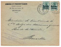 OC 2 ( 2x) Op Brief 1915 NIJVEL Nivelles  CTR  Militarische Uberwachungsstelle Union Et Prevoyance RECLAME Taux Des Rent - Weltkrieg 1914-18