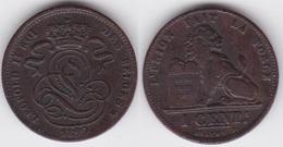 LOT111  LEOPOLD II   1 CENTIME CUIVRE 1899 Française - 1865-1909: Leopold II