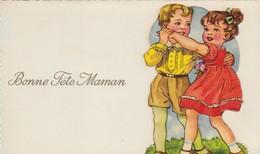 """CARTE FANTAISIE .  """" BONNE FÊTE  MAMAN."""" ENFANTS .UN PAS DE DANSE. MOTIF AJOUTE A LA CARTE POUR DONNER DU RELIEF. - Fête Des Mères"""