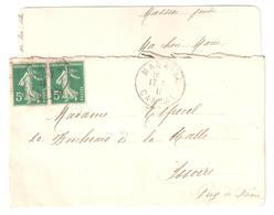 MASSIAC Cantal Carte De Visite Avec Correspondance 5c Semeuse Camée Verte Yv 137 Ob 1913 Dest Issoire - Covers & Documents
