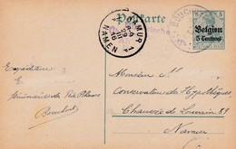 Carte Oc 2 Namur Cachet Censure Militaire Antwerpen - Weltkrieg 1914-18