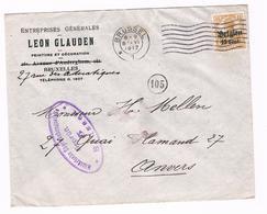OC 15 Op Brief  Brussel 5  1917  Militarische Uberwachungsstelle  Leon Glauden Peinture Et Decoration - Weltkrieg 1914-18