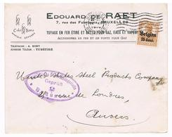 OC 15 Op Brief  Brussel 2  1917 Militarische Uberwachungsstelle Gepruft Reclame Gaz , Tuyaux En Fer Eaux Vapeur En Fonte - Weltkrieg 1914-18