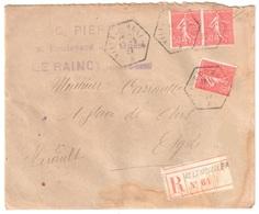 VILLEMOMBLE A Lettre Recommandée Exp PIERRE Le RAINCY 50c Semeuse Yv 199 1927 Ob Recette Auxiliaire Urbaine Hexagone D4 - Covers & Documents