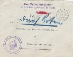"""Interruption Du Service Postal à Bxl /Der Verwaltungschef Bei Dem Generalgouverneur In Belgiën -""""Durch Boten"""" - Weltkrieg 1914-18"""